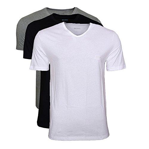 BOSS Hugo Herren T-Shirts Business Shirts V-Neck 50325389 3er Pack, Farbe:Mehrfarbig, Größe:L, Artikel:-999 Mix
