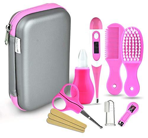 Babypflege Set, 8-teiliges Set für Baby Alltag Pflege Mit Baby Gesundheitswesen Kit mit Thermometer Nasensauger Pipette Feeder Nagel Haarpflegeset, Fingerzahnbürste Nasenpinzette (Pink) -