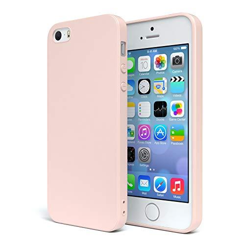 EAZY CASE Handyhülle Silikon mit Kameraschutz für Apple iPhone SE / 5 / 5S in Altrosa, Rosa, Ultra dünn, Slimcover, Silikonhülle, Hülle, Softcase, Backcover - 5 Rosa Iphone Cover