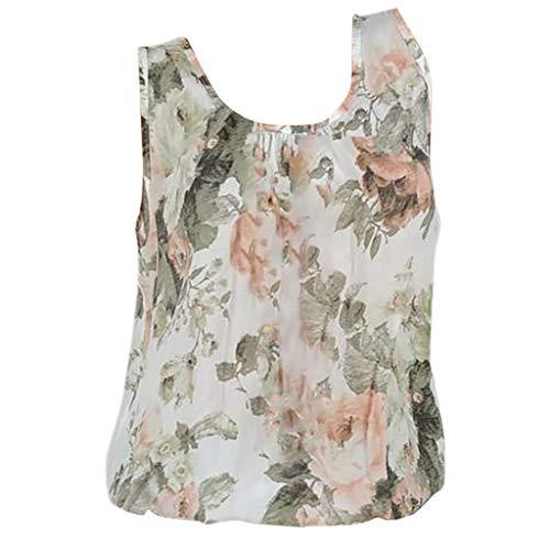 , Damen Frauen Chiffon Weste Tops Mode Bohemian Stil Blumen Print Ärmelloses Pullover Sommer Freizeit Shirt Trägershirts Camisole Oberteile (Beige,M) ()