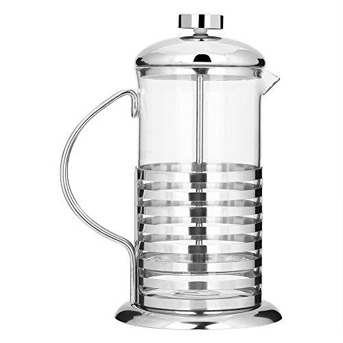 Kaffee Press Topf 600ml/800l tragbarer Kaffeebereiter French Press Filter Handheld Hot Tee Topf Drücken Kolben Glas Hohl, 800 ml