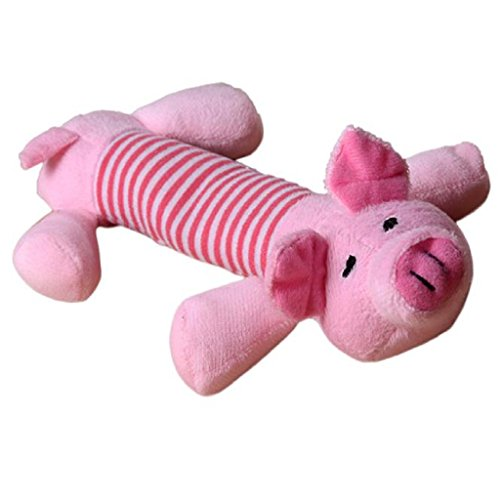 Loveso-Haustier Hunde Spielzeug Haustier-Welpen-Hundekauen Squeaker quietschend Plüsch Ton Schwein Elefant Ente Ball Spielzeug (Pink)