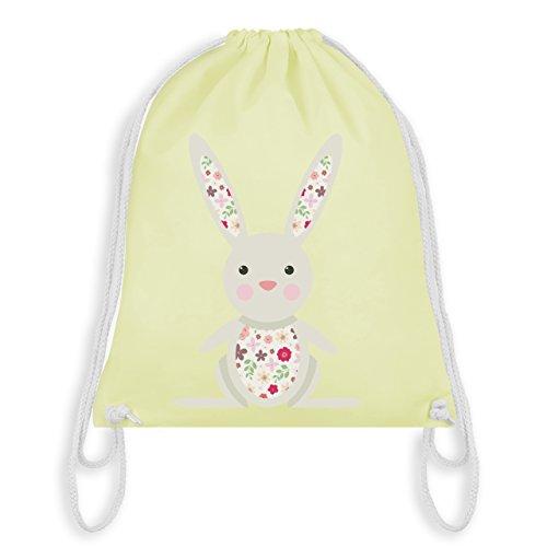 Tiermotive Kind - Süßer Hase - Frühlingstiere mit Blumen - Unisize - Pastell Gelb - WM110 - Turnbeutel & Gym Bag