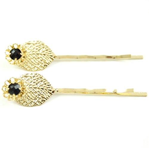 rougecaramel - Accessoires cheveux - Mini pince fantaisie métal doré forme feuille 2pcs - noir