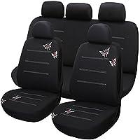 Juego completo de fundas para asientos de coche universales (bordado mariposa) - 9 Piezas