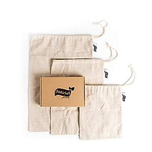Natürlich Hanf – 3er Set Brotbeutel aus Hanf in DREI praktischen Größen – Plastikfrei Einkaufen mit den wiederverwendbaren Brötchenbeutel – Mehrweg Brotsack fürs Einkaufen mit Gewichtsangabe (Tara)