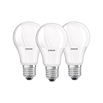 Osram LED Base Classic A, in Kolbenform mit E27-Sockel, Nicht Dimmbar, Ersetzt 60 Watt, Matt, Warmweiß - 2700 Kelvin, 3er-Pack