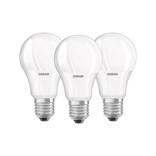 Osram Base Classic A - Lámpara LED, E27, color blanco (Paquete de 3)
