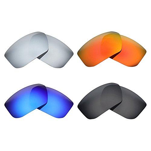 MRY 4Paar Polarisierte Ersatzgläser für Spy Optic McCoy sunglasses-stealth schwarz/fire rot/ice blau/silber titan