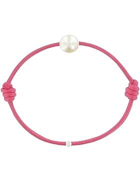Schmuck Les Poulettes - Kinder-Armband - My First Pearl gewachste Schnur Armband - White Süßwasser Zuchtperlen...