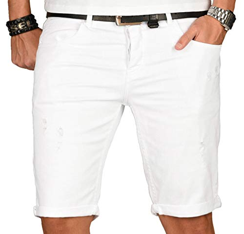 A. Salvarini Herren Designer Jeans Short Kurze Hose Slim Sommer Shorts Washed [AS-140-W32] -