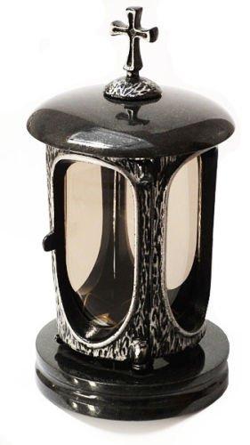 Stilvolle Grablaterne Anthrazit Kreuz Granit Schwedisch Black Höhe 27 cm / Ø 14,5 cm Grableuchte Grablicht Grablampe Granitlampe Granitlaterne Grau mit Sockel Grabschmuck