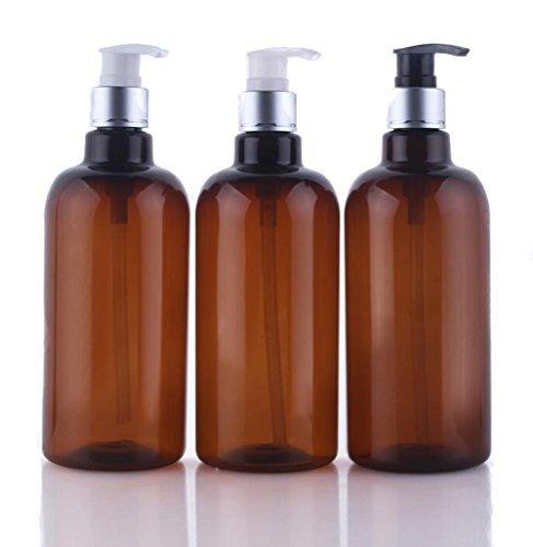 Ensemble de flacons rechargeables de 500 ml, en plastique brun, avec une pompe, idéaux pour le maquillage, gel douche, produits liquides, etc. Accessoires de voyage, anti-fuite. Pack de 3