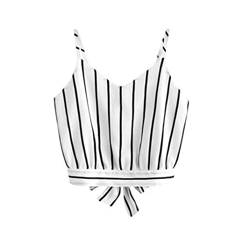 TUDUZ Damen T-Shirt Armelloses Top, Frauen Verstellbare Schultergurte Runden Hals Leibchen Crop Top (Weiß-C, XL)