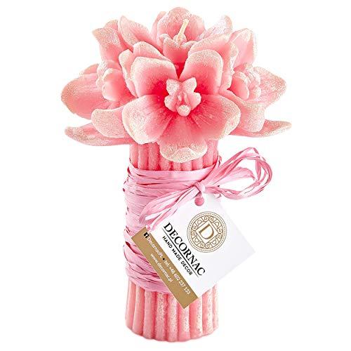 Wunderschön Geschenk Orchidee Blumen ♥ HANDGEMACHT ♥ Großer Strauß ♥ Duftkerze mit Natürliche Ätherische Öle ♥ Valentinstag Mutter Frau Jubiläum Verlobung Dekoration Weihnachtsgeschenk Aroma Rosa (Dekorationen Für Jubiläum)