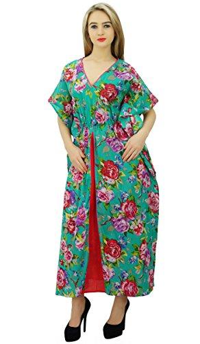 Bimba dames exclusives de caftan de coton design CoverUp nuit robe porter robe maxi floral Vert