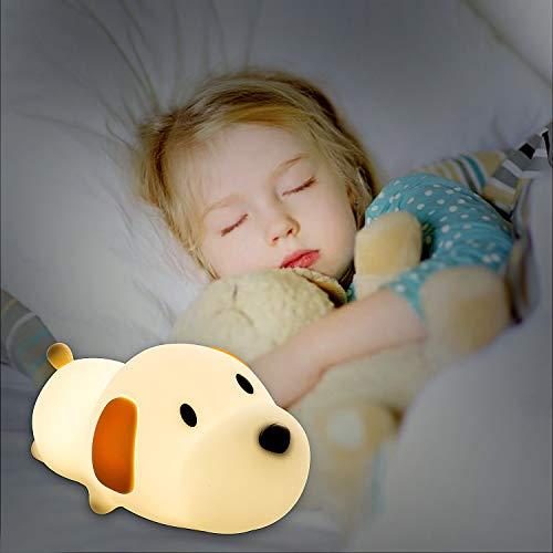 Luz de Noche Lámpara para Niños, Remebe Lindo y Suave Perro de Silicona Night Night Lamp Warm White, Cool White Ajustable Brillo para Habitación de Bebé, Dormitorio, Salas de estar, Camping
