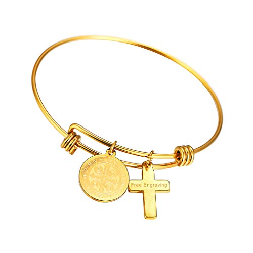 FaithHeart Armreif Gold Herren Heilige Ikone Armband Schmuck Silber 18k Damen Armband Frauen Gold Heilige Benedikt Medaille Silber,Gravierbar Persoenlich Namen