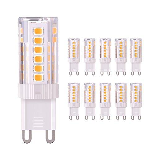 Sunix bombillas LED G9 de 4W, equivalentes a Lámparas halógenas de 40W, Blanco Cálido 3000k, 320LM,AC 220V, Pack de 10