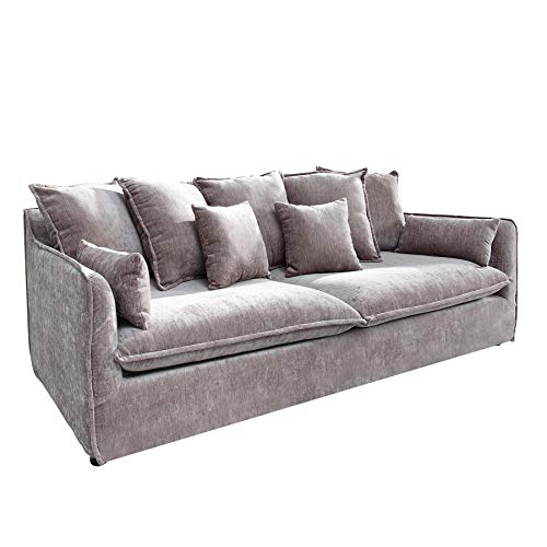 Riess Ambiente Großes Hussensofa Heaven 3-Sitzer 210cm Taupe SAMT inkl. Kissen Sofa Couch