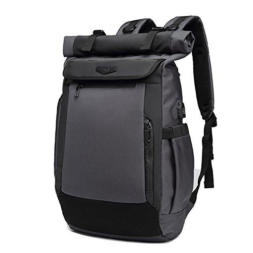 Neuleben Rucksack Roll Top Kurierrucksack mit USB Ladeport Laptopfach Brustgurt Wasserabweisend Ruckäcke Daypack für Damen Herren (Grau)