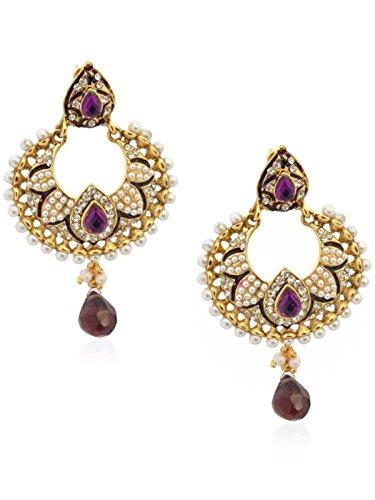 Crunchy Fashion Ethnic Traditionelle indische Glorious Perle Blütenblatt Lavendel Ohrringe für Frauen