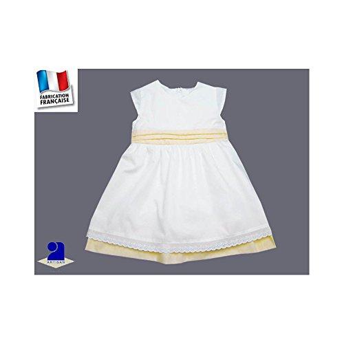 Poussin bleu - Robe fille baptême et cérémonie blanche, jupon et ceinture  jaune Couleur - 253ea8415ae
