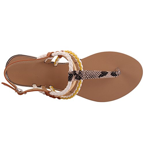 Unze Nouveau Femmes 'Rico' Coloré Strappy Summer Beach Party Get Together Chaussures Carnival Casual Casual Sandals Taille UK 3-8 Blanc