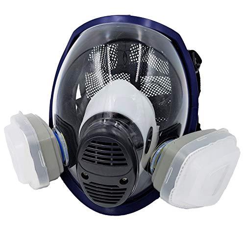WiseLime Bio-Vollgesichtsmaske für Chemikalien, Rauch, Pestizide Spray und Tear Gas, Industrie-Qualität, Gasmaske inkl. 2 Filter