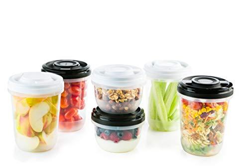 2friends GmbH 6 Frischhaltedosen mit Schraubdeckel, z.B. für Meal Prep, stapelbar, gefriergeeignet, mikrowellengeeignet, BPA-freier Kunststoff, geprüfte Qualität!