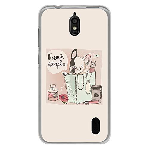 BJJ SHOP Transparente Hülle für [ Huawei Y625 ], Flexible Silikonhülle, Design: Weißer Welpe des französischen Bulldoggehundes in der Tasche, französische Art