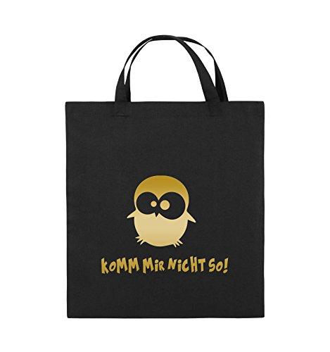 Comedy Bags - Komm mir nicht so! - EULE - Jutebeutel - kurze Henkel - 38x42cm - Farbe: Schwarz / Pink Schwarz / Gold