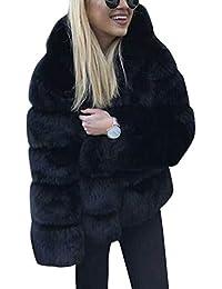 407ed24f58cee ShallGood Femmes Fausse Fourrure Solide Peluche Chaude Mode Élégant Collier  à Capuche Veste Slim Hoodie éPais Manteau en Laine…
