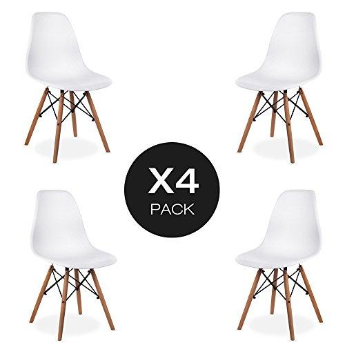 OAKOME Pack de 4Silla de Comedor Blanco Estilo Moderno con Pata de Palo,Comedor / Silla de Oficina con las Piernas de Madera Haya