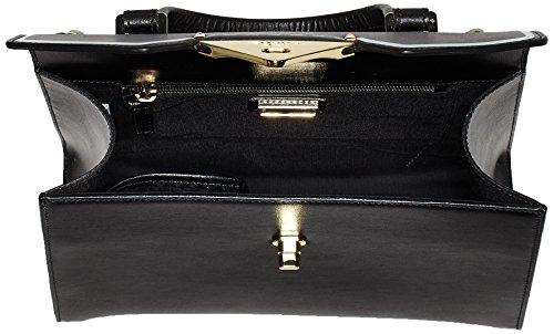 Tosca Blu Damen College Schultertasche, 13x22x24 cm Schwarz (Black)