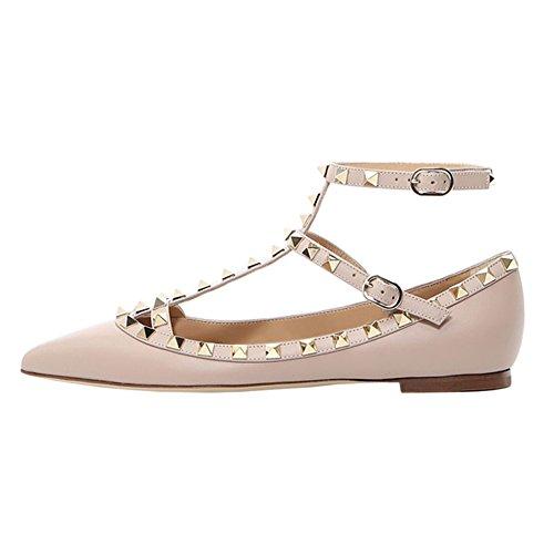 VOCOSI Damen Flat Heels Nieten Straps Spitze Zehe Ballerinas Flats Schuhe M-Apricot 46EU (Pointy-zehe-schuhe)