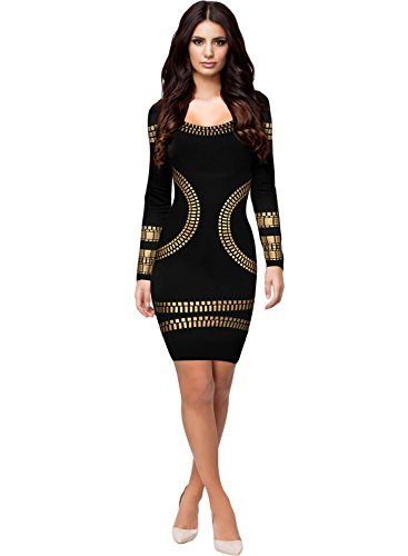 Miusol Damen Langarm U-Ausschnitt Foliendruck Cocktailkleid Bodycon Party Stretch Mini Kleid Schwarz EU 36/S - 4