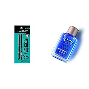 Lakme Eyeconic Kajal Twin Pack, Black, 0.35g with 0.35g & Lakmé Nail Color Remover, 27ml