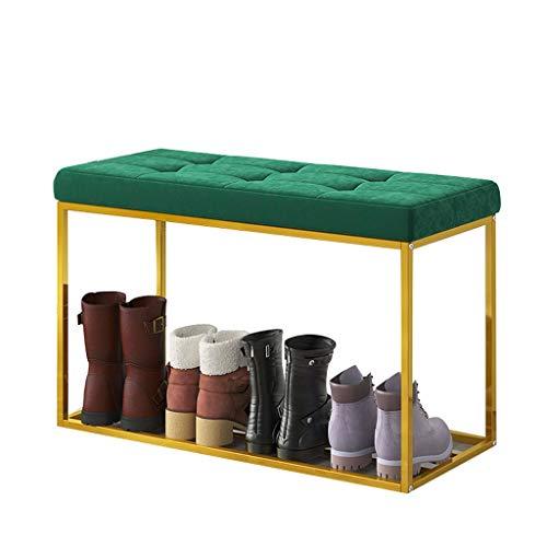 RENLEINB Graue Schuhregalbank - Schuhregalorganisator, Flanellkissen, Metallregal, geeignet für Flurzugang, Schrank, Schlafzimmer usw. (Edition : A)