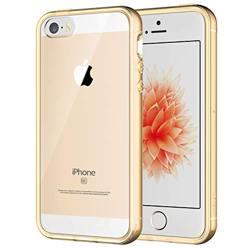 JETech Hülle für iPhone SE, iPhone 5s und iPhone 5, Schutzhülle Anti-kratzt Transparente Rückseiteülle, Gold