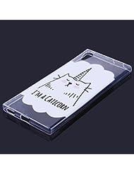 EUWLY Sony Xperia XA1 Coque Housse,Ultra Mince Transparent Silicone Soft TPU Silicium Étui Housse Coque Pour Sony Xperia XA1 Homme Femme Fille Ultra Slim Transparent Flexible Soft Gel Protective Case TPU Doux Housse Etui de Protection Ultra-Mince Caoutchouc Bumper Scratch Résistant Shockproof Anti Choc Protecteur Cas Couverture pour Sony Xperia XA1 + 1 x Pen Bleu Stylus,Chat licorne