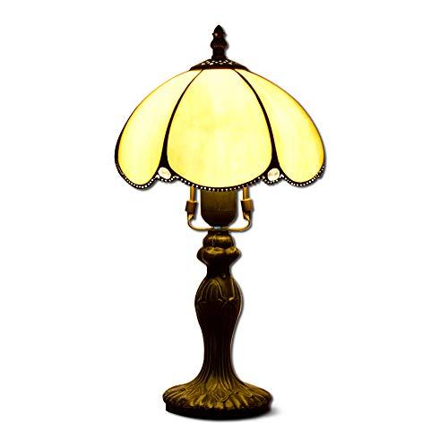 Hobaca® 8 Zoll Amber Glas Tiffany Vintage Gold Tischlampe Klassische Designer Lampenschirm Nachttischlampe E27 Home Deco für Wohnzimmer - Klassische Tiffany-tischlampe