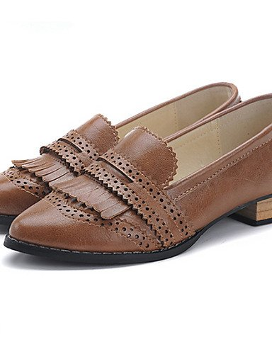 ZQ Scarpe Donna - Mocassini - Casual - Punta arrotondata - Quadrato - Finta pelle - Nero / Marrone , brown-us8 / eu39 / uk6 / cn39 , brown-us8 / eu39 / uk6 / cn39 brown-us7.5 / eu38 / uk5.5 / cn38