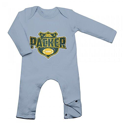I'm a Packer Babybody | American Football | Super Bowl | NFL | Langarm | Langärmliger Strampler, Farbe:Babyblau (Dusty Blue BZ13);Größe:3-6 Monate