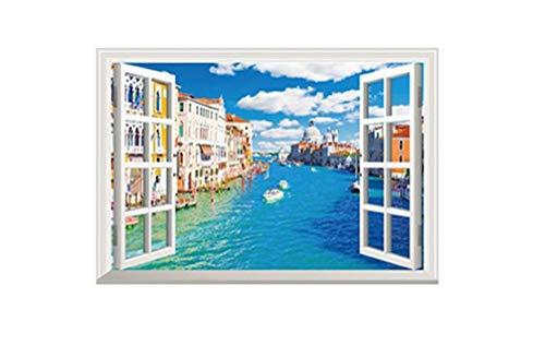 ADLFJGL Kreative gefälschte Fenster außerhalb der mediterranen Stil Kunst wandaufkleber Wohnzimmer kinderzimmer Schlafzimmer wandaufkleber Dekoration aufkleberWandsticker