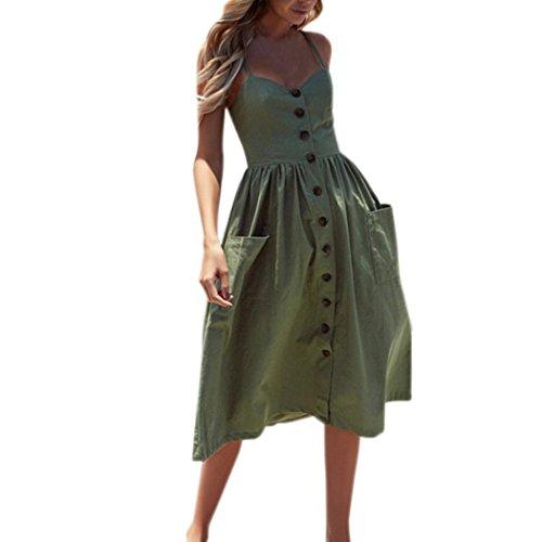 Maxikleider Sommer,SANFASHION Damen Mode Sommerknöpfe Striped Off Schulter Ärmelloses Prinzessin Kleid