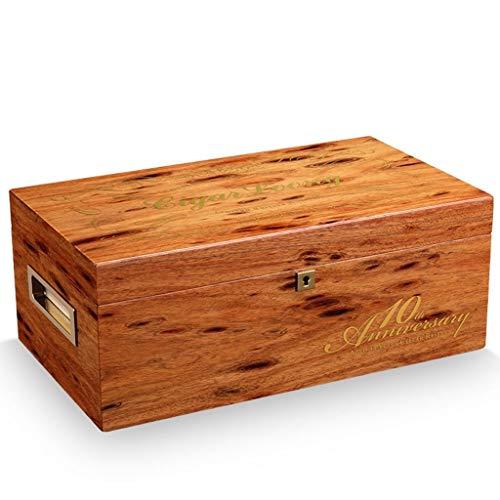 Jolly Humidor de 50 cigarros Hecho a Mano de Cuero marrón de Calidad, Caja de Almacenamiento de cigarros Forrada de Madera de Cedro de Escritorio