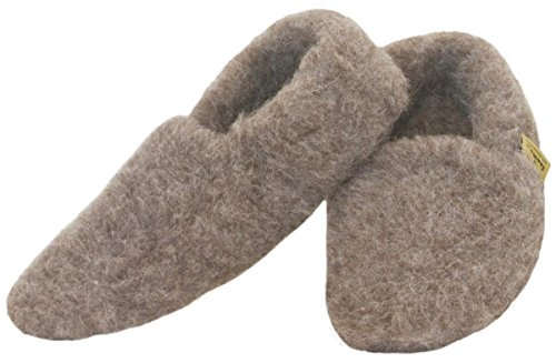 SamWo, a forma di piede pantofole scaldapiedi 100% percora lana, Dimensioni: 35-48 Marrone (Naturbraun)