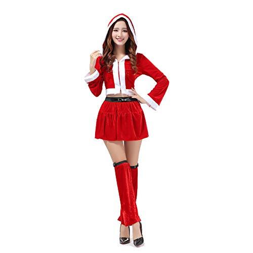 GSDZN - Weihnachten Fräulein Frau Santa Claus Kostüm, Kleidet Nettes Weihnachts Mädchen, Weihnachtsfrauen Kleid, Top, Kurzer Rock, Beinmanschette, Eine Größe, S-XL (Mädchen Für Santa Claus Kleider)