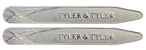 Tyler & Tyler Diffusion Indented Collar Stiffeners - Satin Silver Finish In Leather Wallet